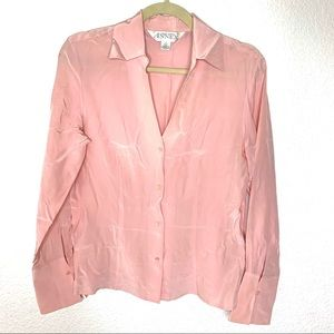Casual Corner Annex 100% Silk Pink Button Up Top